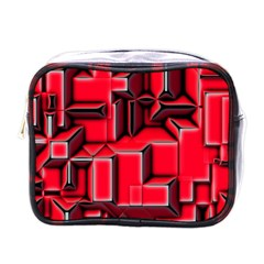 Background With Red Texture Blocks Mini Toiletries Bags