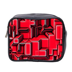 Background With Red Texture Blocks Mini Toiletries Bag 2-Side