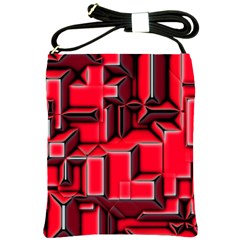 Background With Red Texture Blocks Shoulder Sling Bags