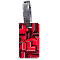 Background With Red Texture Blocks Luggage Tags (one Side)