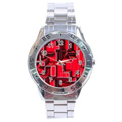 Background With Red Texture Blocks Stainless Steel Analogue Watch