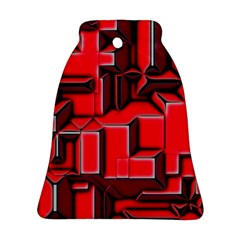 Background With Red Texture Blocks Ornament (bell)