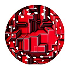 Background With Red Texture Blocks Round Filigree Ornament (two Sides)