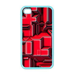 Background With Red Texture Blocks Apple Iphone 4 Case (color)