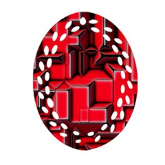 Background With Red Texture Blocks Ornament (oval Filigree)