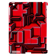 Background With Red Texture Blocks Apple iPad 3/4 Hardshell Case (Compatible with Smart Cover)