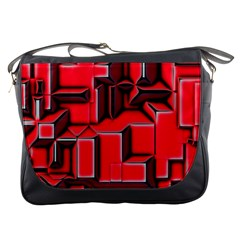 Background With Red Texture Blocks Messenger Bags