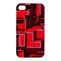 Background With Red Texture Blocks Apple Iphone 4/4s Premium Hardshell Case