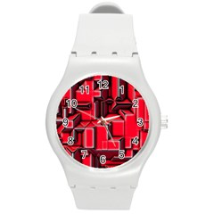Background With Red Texture Blocks Round Plastic Sport Watch (M)