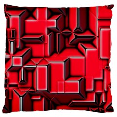 Background With Red Texture Blocks Large Cushion Case (Two Sides)