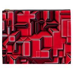 Background With Red Texture Blocks Cosmetic Bag (XXXL)