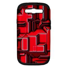 Background With Red Texture Blocks Samsung Galaxy S Iii Hardshell Case (pc+silicone)