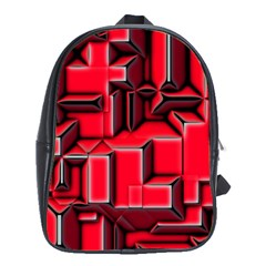 Background With Red Texture Blocks School Bags (XL)