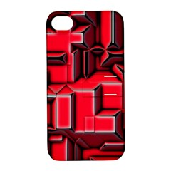 Background With Red Texture Blocks Apple Iphone 4/4s Hardshell Case With Stand