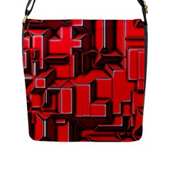 Background With Red Texture Blocks Flap Messenger Bag (l)
