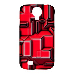 Background With Red Texture Blocks Samsung Galaxy S4 Classic Hardshell Case (pc+silicone)