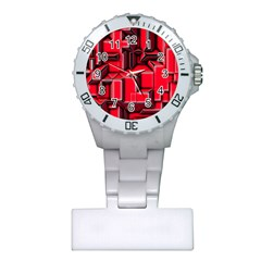 Background With Red Texture Blocks Plastic Nurses Watch