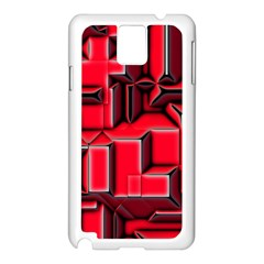 Background With Red Texture Blocks Samsung Galaxy Note 3 N9005 Case (white)