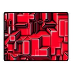 Background With Red Texture Blocks Double Sided Fleece Blanket (small)