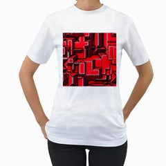 Background With Red Texture Blocks Women s T Shirt (white)