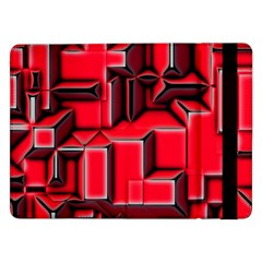 Background With Red Texture Blocks Samsung Galaxy Tab Pro 12 2  Flip Case