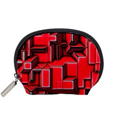 Background With Red Texture Blocks Accessory Pouches (small)