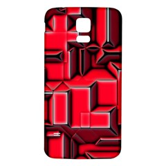 Background With Red Texture Blocks Samsung Galaxy S5 Back Case (White)