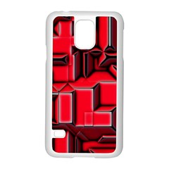 Background With Red Texture Blocks Samsung Galaxy S5 Case (white)