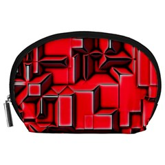 Background With Red Texture Blocks Accessory Pouches (Large)