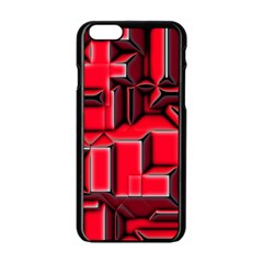 Background With Red Texture Blocks Apple Iphone 6/6s Black Enamel Case