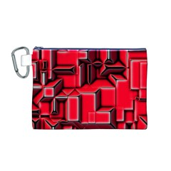 Background With Red Texture Blocks Canvas Cosmetic Bag (M)