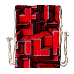 Background With Red Texture Blocks Drawstring Bag (large)