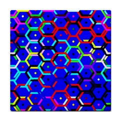 Blue Bee Hive Pattern Tile Coasters