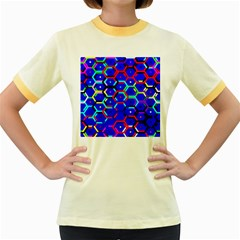 Blue Bee Hive Pattern Women s Fitted Ringer T-Shirts