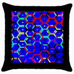 Blue Bee Hive Pattern Throw Pillow Case (black)
