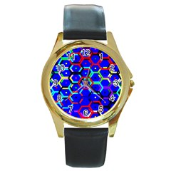 Blue Bee Hive Pattern Round Gold Metal Watch