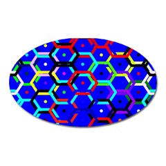 Blue Bee Hive Pattern Oval Magnet