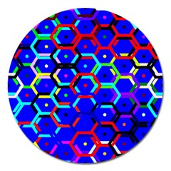 Blue Bee Hive Pattern Magnet 5  (round)