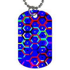 Blue Bee Hive Pattern Dog Tag (One Side)