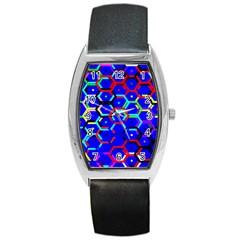 Blue Bee Hive Pattern Barrel Style Metal Watch
