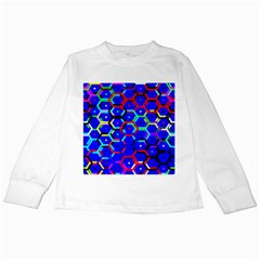 Blue Bee Hive Pattern Kids Long Sleeve T Shirts