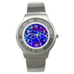 Blue Bee Hive Pattern Stainless Steel Watch