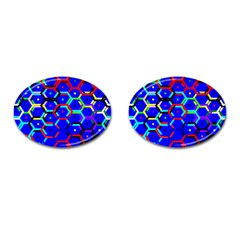 Blue Bee Hive Pattern Cufflinks (oval)