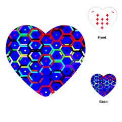 Blue Bee Hive Pattern Playing Cards (heart)