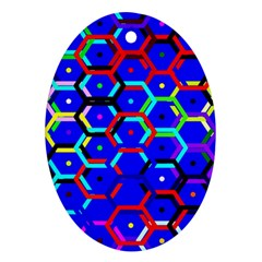 Blue Bee Hive Pattern Oval Ornament (two Sides)