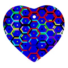 Blue Bee Hive Pattern Heart Ornament (two Sides)