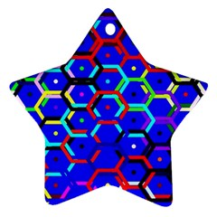 Blue Bee Hive Pattern Star Ornament (two Sides)