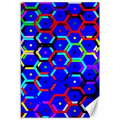 Blue Bee Hive Pattern Canvas 12  X 18