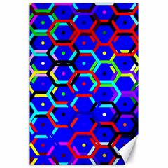 Blue Bee Hive Pattern Canvas 24  X 36