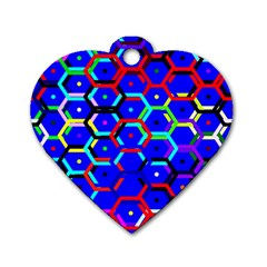 Blue Bee Hive Pattern Dog Tag Heart (two Sides)